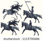 riders. design set. hand drawn... | Shutterstock .eps vector #1115700686
