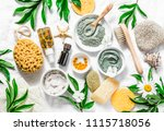 flat lay beauty skin care... | Shutterstock . vector #1115718056