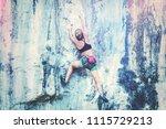young woman climbing a cliff... | Shutterstock . vector #1115729213