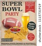 super bowl vintage poster. | Shutterstock .eps vector #1115731919