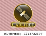 shiny emblem with satelite... | Shutterstock .eps vector #1115732879