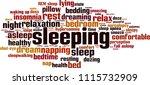 sleeping word cloud concept.... | Shutterstock .eps vector #1115732909