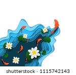 water lily  koi carp fish... | Shutterstock .eps vector #1115742143