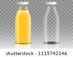 orange juice empty and full... | Shutterstock .eps vector #1115742146