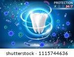 teeth protection concept vector ... | Shutterstock .eps vector #1115744636