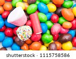 background of sweets and... | Shutterstock . vector #1115758586