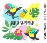 hello  summer. toucan in a... | Shutterstock .eps vector #1115762480