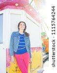 beautiful mature tourist woman... | Shutterstock . vector #1115764244