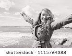 black and white portrait of... | Shutterstock . vector #1115764388