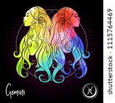 gemini  twins  girls  zodiac... | Shutterstock .eps vector #1115764469