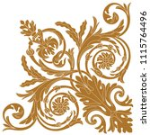golden vintage baroque ornament ... | Shutterstock .eps vector #1115764496