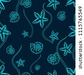 seamless marine pattern with... | Shutterstock . vector #1115765549