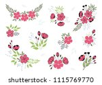 vector set of hand drawn floral ... | Shutterstock .eps vector #1115769770