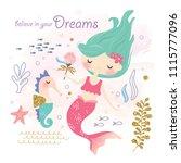 cute mermaid and sea life... | Shutterstock .eps vector #1115777096