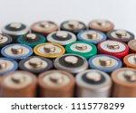 many aa batteries  aka double a ...   Shutterstock . vector #1115778299