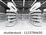 interior of a supermarket with... | Shutterstock . vector #1115784650