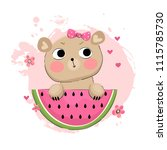 illustration with cute bear... | Shutterstock .eps vector #1115785730