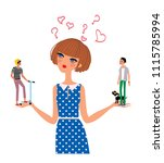love scales girl thinking about ... | Shutterstock .eps vector #1115785994
