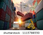 forklift handling container box ... | Shutterstock . vector #1115788550