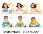 schoolchildren doing homework... | Shutterstock .eps vector #1115789054