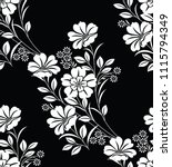 seamless black and white floral ... | Shutterstock .eps vector #1115794349