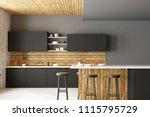 clean kitchen interior with... | Shutterstock . vector #1115795729