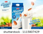 almond milk ads with liquid... | Shutterstock .eps vector #1115807429