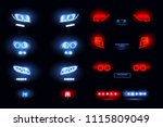 automotive led lights realistic ... | Shutterstock .eps vector #1115809049