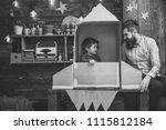 child cute boy play cosmonaut ... | Shutterstock . vector #1115812184
