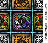 check striped embroidery vector ... | Shutterstock .eps vector #1115813396