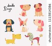 vector set of cute flat cartoon ...   Shutterstock .eps vector #1115814386