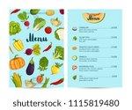 vegan cafe food menu design... | Shutterstock . vector #1115819480