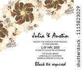 flowers card invitation | Shutterstock .eps vector #1115823029