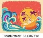 Vintage Tropical Card On Old...