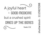 "bible verses  proverbs 17 22 ""a ... | Shutterstock .eps vector #1115825288"