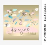 hand drawn abstract pastel baby ... | Shutterstock .eps vector #1115826683