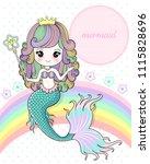 mermaid holding a magic wand   Shutterstock .eps vector #1115828696