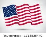 american flag.wavy flag of usa.   Shutterstock .eps vector #1115835440