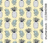 pineapples and tropical leaves... | Shutterstock .eps vector #1115840588