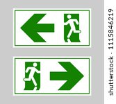 emergency exit signs set. man... | Shutterstock .eps vector #1115846219