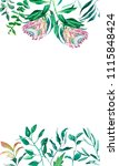floral watercolor frame flowers ... | Shutterstock . vector #1115848424
