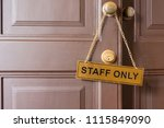 staff only label hanging on... | Shutterstock . vector #1115849090