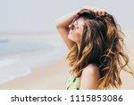 young beautiful woman wearing... | Shutterstock . vector #1115853086