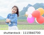 cute asian girl smile and... | Shutterstock . vector #1115860700