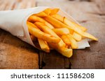 potatoes fries in a little... | Shutterstock . vector #111586208