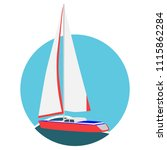 sail boat yacht card. luxury... | Shutterstock .eps vector #1115862284