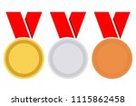 gold  silver and bronze medal... | Shutterstock .eps vector #1115862458