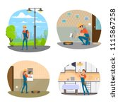 electrician with equipment icon ... | Shutterstock .eps vector #1115867258