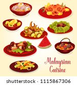 malaysian cuisine meat and... | Shutterstock .eps vector #1115867306
