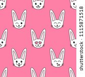 pattern with white rabbits with ... | Shutterstock . vector #1115871518